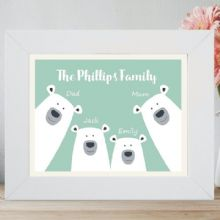 Framed Personalised Polar Bear Family Print - Personalised With Names and Choice of Colour - Housewarming Gift - New Baby Keepsake